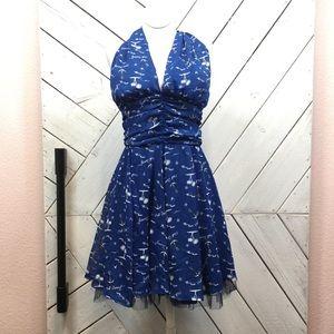 Hell Bunny Blue Rockabilly Halter Mini Dress